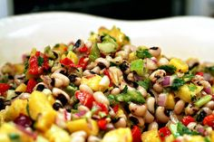 pineapple and red pepper salad with black-eyed peas