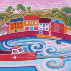 Perfectly Pink Padstow by Sara Holden Artist