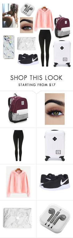 """Travel outfit"" by neongirlz5 on Polyvore featuring Victoria's Secret, Topshop, Herschel Supply Co., NIKE and PhunkeeTree"