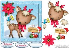 Deer Friends At Christmas on Craftsuprint designed by Carol James - A cute and simple 7 x 7 Christmas topper with decoupage pieces and 2 sentiment tags (plus a blank tag)Sentiments include:Christmas Greetings Merry Christmas - Now available for download!