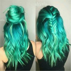 71 Green Hair Color Ideas You& Love - Everything For .- 71 green hair dye ideas you& love - Green Hair Ombre, Mint Hair, Pastel Green Hair, Bright Blue Hair, Ombre Hair Color, Hair Colour, Dyed Hair Pastel, Coloured Hair, Colored Hair Styles