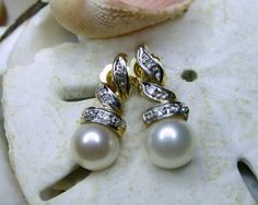 14k Pearl and Diamond Dangle Earrings Spiral by EverythingIOwn, $195.00