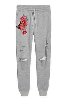 Joggers met borduursel - Grijs gemêleerd/rozen - DAMES | H&M NL 1