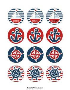 Use the circles for cupcakes, party favor tags, and mo. Use the circles for cupcakes, party favor tags, and more. Fiesta Baby Shower, Baby Shower Favors, Shower Party, Baby Shower Parties, Baby Boy Shower, Baby Shower Decorations, Baby Shower Cupcakes Neutral, Sailor Party, Sailor Theme