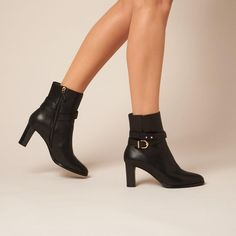Josie Black Leather Ankle Boots | Shoes | L.K.Bennett