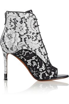 Givenchy|Lace on black and white leather ankle boots|NET-A-PORTER.COM