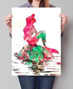 Ariel Watercolor Print, Disney Art, Watercolor Art, Nursery Room Poster, Ariel Print Watercolor Painting, Disney Print (72)