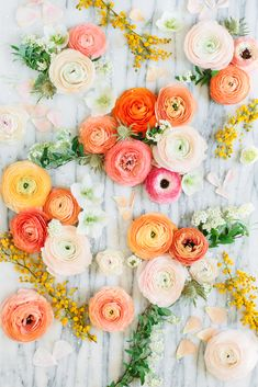 Floral Flat Lay Art Print by Mary Costa Photography - X-Small Flat Lay Photography, Floral Photography, Flat Lay Inspiration, Clinic Interior Design, Floral Flats, Orange Wedding, Floral Baby Shower, Vintage Flowers, Decoration