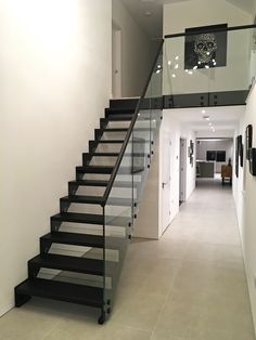 A stunning Model 500 straight flight staircase with black. Click the link to see similar staircases to this one.