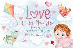 Valentines day love watercolor set by antuanetto on @Graphicsauthor