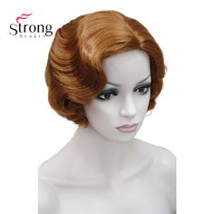 Finger Wavy Style Short Skin Top Synthetic Hair Wig Costume Wigs 13 COLORS for you choose