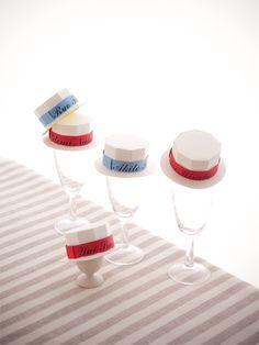 カンカン帽の席札 手作り結婚式のすすめ「幸せのたね。」
