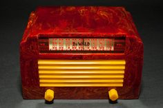 "DeWald A-502 Catalin Radio Insert Grill 'Step-Top"" in Oxblood with Yellow"