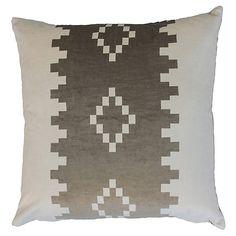 Anna 22x22 Velvet Pillow, Taupe/White $$$