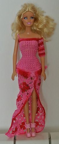 Barbie crocheted long dress  free pattern Ravalary