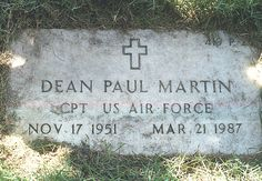 The grave of Dean Paul Martin Jr. He was killed when his plane crashed into a mountain. Buried at the huge military National Cemetery in Los Angeles, CA.