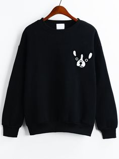 Dropped+Shoulder+Seam+Dog+Pattern+Flocked+Black+Sweatshirt+13.67