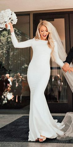 30 Simple Wedding Dresses For Elegant Brides ❤ simple wedding dresses mermaid long sleeves dukemoose ❤ See more: http://www.weddingforward.com/simple-wedding-dresses/ #weddingforward #wedding #bride