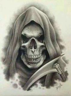 Grim reaper and a badass scythe Evil Skull Tattoo, Skull Tattoo Design, Skull Design, Skull Tattoos, Sleeve Tattoos, Tattoo Designs, Grim Reaper Art, Grim Reaper Tattoo, Skull Stencil