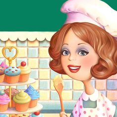 Own a bakery Marquis, Cute Characters, Disney Characters, Creation Photo, Food Gallery, Cupcake Art, Mothers Day Cards, Kitchen Art, Cute Illustration