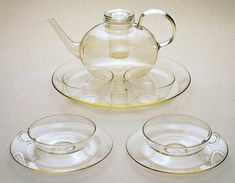 Wilhelm Wagenfeld, Bauhaus taught, Glass tea set.  Jenaer Gaswerk, Schott & Genossen  1930-1934