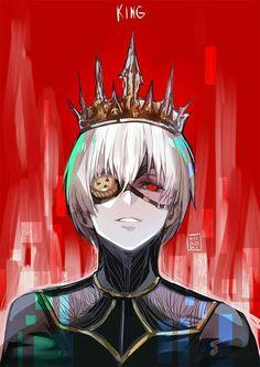 King, text, Kaneki Ken, ghoul, white hair, eye patch, crown; Tokyo Ghoul