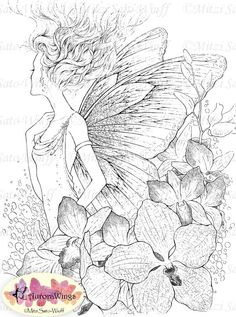 Digital Stamp Instant Download  Orchid Fairy w/ by AuroraWings, $4.00