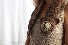 brown bear crocheted scarf christmas gift FREE by Marinsss on Etsy, $40.00