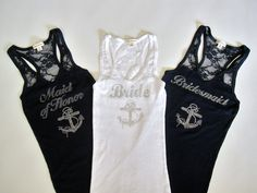 Nautical Bride and Bridesmaid Shirts!