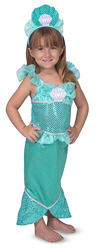 Kids' Mermaid Costume Set: This stunning mermaid costume features a shimmering dress with a tail that flares into a fishtail! Glittering fabrics, silvery accents, and a royal seashell tiara make this kids' dress-up set truly special. Crafted with care and durable construction to stand up to years of pretend play!