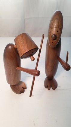 Pair of Danish Modern Viking Figurines - Mid Century Turned Teak ? Walnut ? / Hans Bolling Style / Removable Arms - Articulating Heads