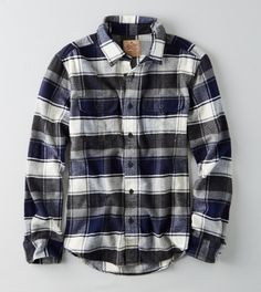 Grey AEO Heritage Button Down Flannel
