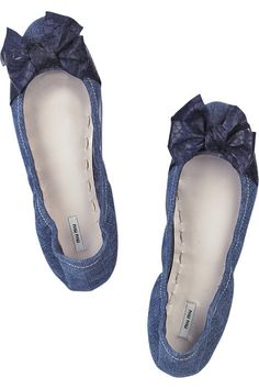 Denim Ballerina shoes with adorable bows and they look oh so comfy.
