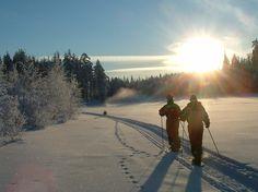 Snowshoeing by the river Iijoki, Taivalkoski, Lapland, Finland