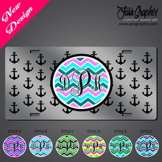 Monogrammed License Plate with chevron pattern and nautical anchor, This design and more monogrammed car tags are availalbe on our site http://www.jassgraphix.com/product-category/license-plates-2/monogrammed-license-plates
