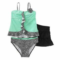 Candie's Polka-Dot 3-pc. Tankini Swimsuit Set - Girls 7-16