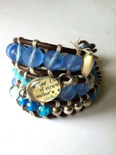 Triple Wrap Beaded Leather Bracelet Sailor Charm with by drawannej