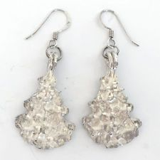 Vintage sterling silver dangling NEW YEAR TREE shape earrings with fi... Lot 241