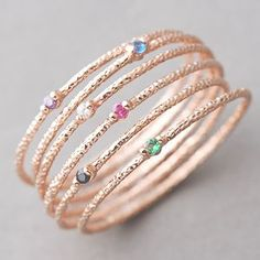 COLOR STONE AND TEXTURED ROSE GOLD THIN RING SET OF 6 by kellinsilver jewelry