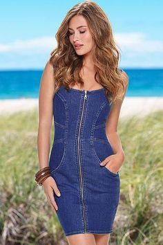 pas cher Mini Robes Zip Avant Manches Denim Robe  #robejeans modebuy.com