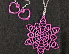"""Conjunto - Colar e Brincos de Corações """"Mandala com Corações""""  *** Peças personalizáveis, feitas através de impressora 3D"""