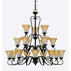 Natalia 40-In 18-Light Palladian Bronze Tiered Chandelier Lwfu8104637