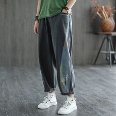 Women Washed Paneled High-Waist Loose Jeans Denim Pants, Harem Pants, Loose Jeans, Cotton Style, Fashion Pants, High Waist, How To Look Better, Thighs, Pants For Women