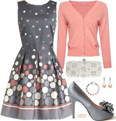 Dressy engagement outfit.    #dress #grey #coral #fashion #style #cardigan #polkadots