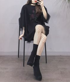 Korean Daily Fashion - picture for you Edgy Outfits, Korean Outfits, Mode Outfits, Grunge Outfits, Grunge Fashion, Fashion Outfits, Fashion Ideas, Korean Fashion Trends, Korean Street Fashion