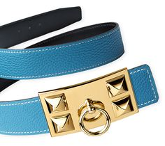 Belt kit 32 mm  32 mm reversible leather strap in Black/Blue Jean, Box/Togo calfskin (width : 1.25) & Hermes iconic Collier de Chien buckle, gold plated