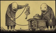 Artist Don Kenn draws monsters on post-it notes