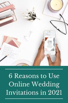"""More and more couples are choosing to go """"paperless"""" when it comes to wedding invitations. Digital technology makes it easier for couples to plan the wedding of their dreams while addressing issues that moden couples often face. If you are wondering if online wedding invitations are right for you, check out these six benefits for going digital. #paperlessweddinginvites #weddinginvitations #withjoy Wedding Invitations Online, Beautiful Wedding Invitations, Digital Invitations, Wedding Advice, Plan Your Wedding, Wedding Ideas, Wedding Inspiration, Wedding Ceremony, Reception"""