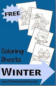 These FREE Winter Themed coloring pages from 123 Homeschool 4 me are a perfect theme for toddlers, preschool, or kindergartners.  They include large ani