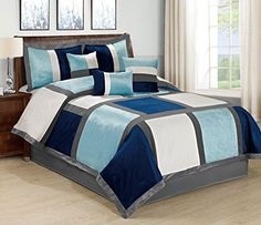 7 Piece Brandy Patchwork Comforter Set Queen 4 Color (Navy Blue/White/Aqua-01) BEDnLINENS http://www.amazon.com/dp/B0195UTWZO/ref=cm_sw_r_pi_dp_F2k5wb1VNNHQX